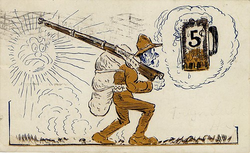 Comic Postcard With Soldier Thirsty for a 5 Cent Beer