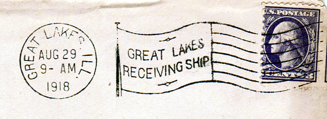American Flag Cancellation of the Great Lakes Naval Training Station During the First World War