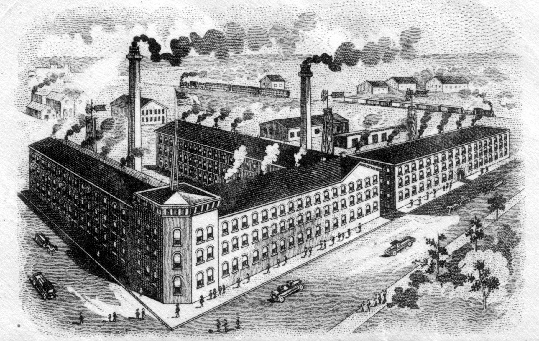 image of a factory on an envelope