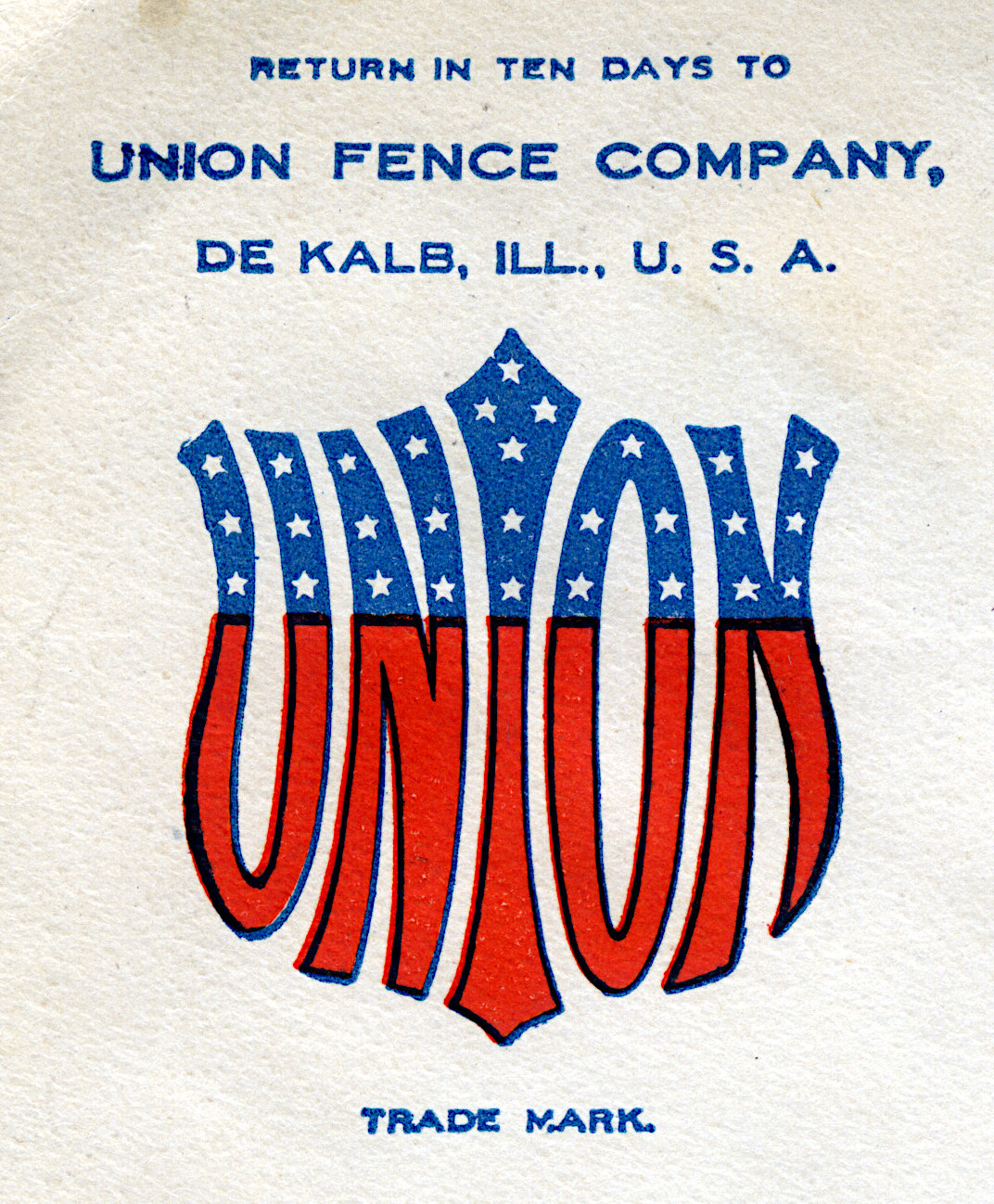 advertising image for a fencing company on an envelope