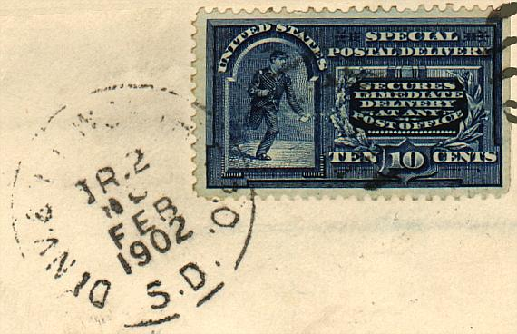 [Example Use of a Special Delivery Stamp]