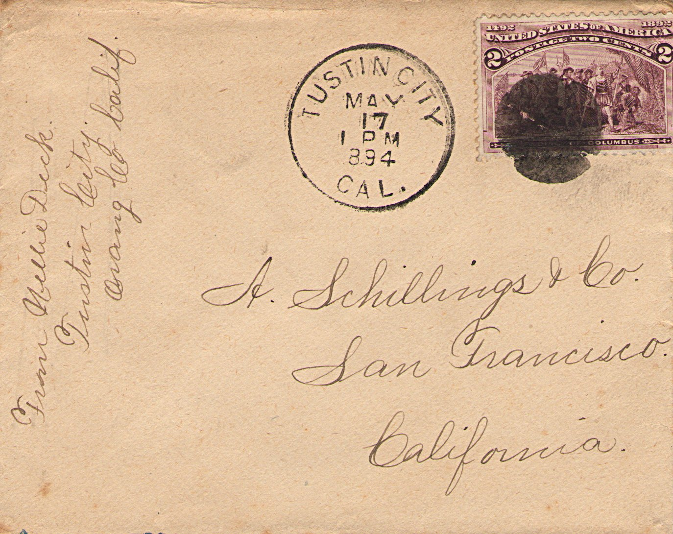Cover Mailed From Tustin City, California