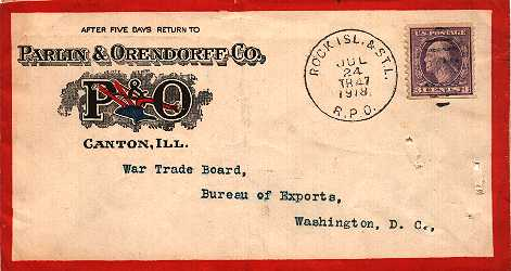 [Railway Post Office (RPO) Cover with Washington-Head Stamp]