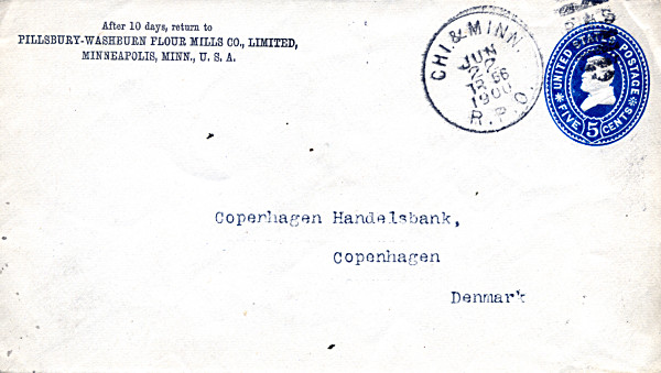 [Railway Post Office (RPO) Cancellation on Cover Addressed to Denmark]
