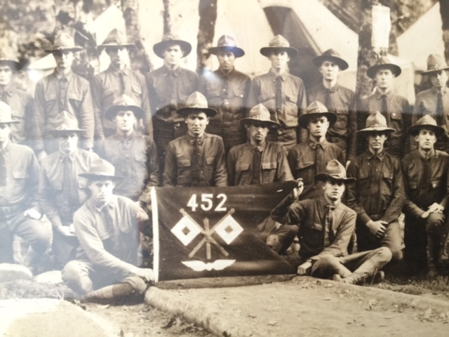 [Group Photo with Banner of the 452nd Aero Squadron (Construction)]