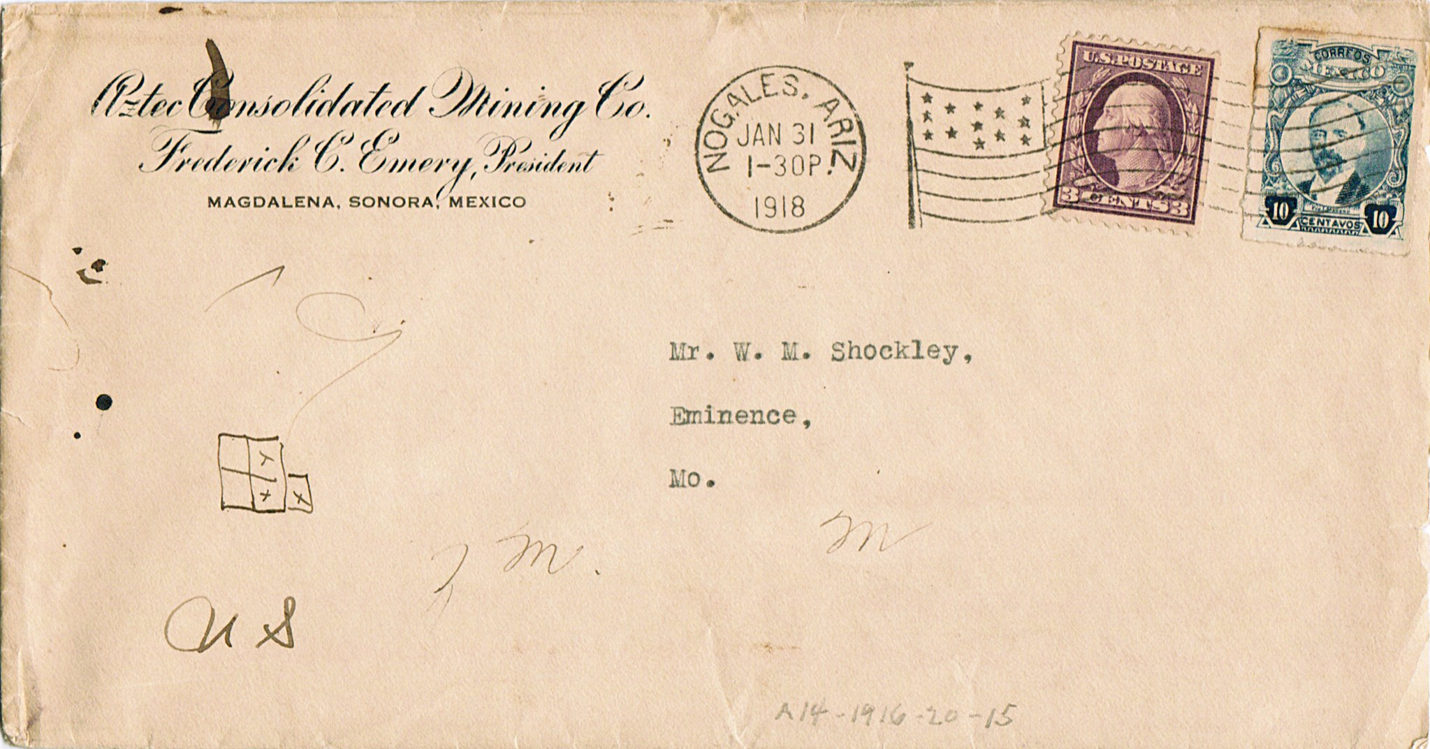 postal history item showing First World War rates in the U.S.