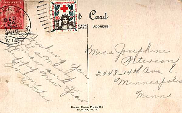 [1918 Christmas Seal on Postcard, Tied by Handstamp Cancellation]