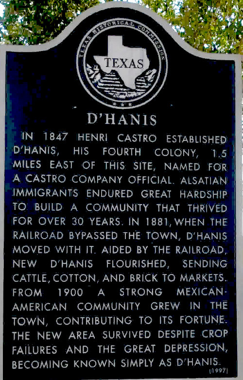 [Sign with History of D'Hanis]