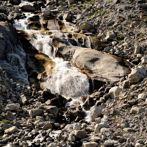 [Disappearing Waterfall from Glacier Melt, Prince Christian Sound] style=