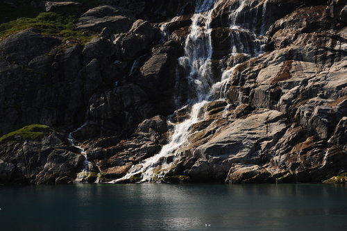 [Waterfall from Glacier Melt, Prince Christian Sound] style=
