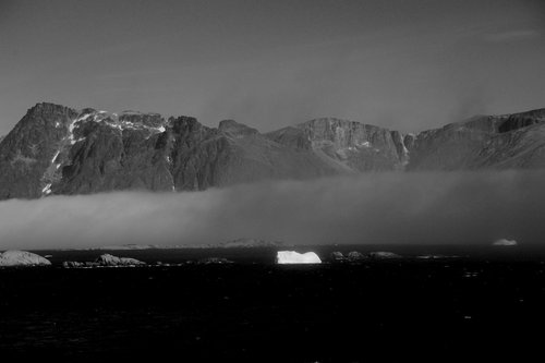 [Leaving Prince Christian Sound in the Fog (BW)] style=