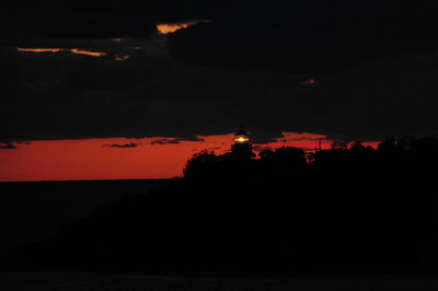 [Sunrise and Lighthouse at Entrance to Sydney Harbor] style=