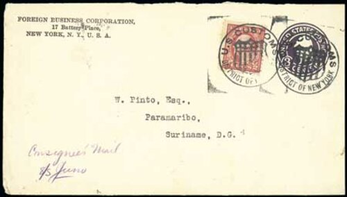 [Foreign Rate Using Postal Envelope and 2-Cent Stamp, with Customs Markings]