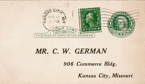[Use of Reply Postal Card with Added Stamp]