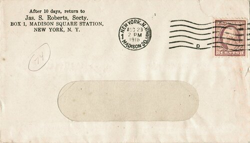 [Early War-Rate Cover Using 3 Cent Coil (Scott #489)]