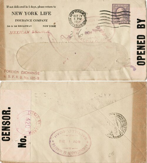 [Commercial Mail Sent to Mexico with Foreign Exchange Handstamps]