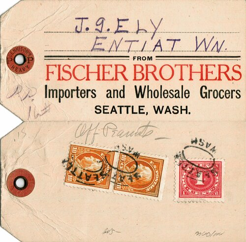 [Parcel Post Tag with Revenue Stamp]